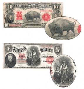 "Top: 1901 $10 Legal Tender Note ""Bison""; Bottom: 1907 $5 Legal Tender Note ""Woodchopper"""