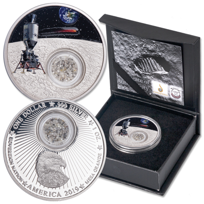 2019 Mesa Grande 1 oz. Silver Dollar Moon Landing with Diamonds – Littleton Coin Company Blog