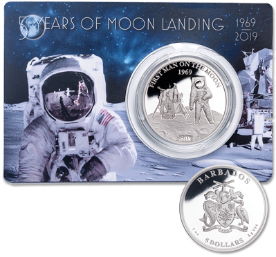 2019 Barbados Silver $5 Moon Landing Proof – Littleton Coin Company Blog
