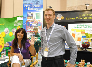 Littleton Coin booth staff, Jill and Mike at the ANA show in Boston