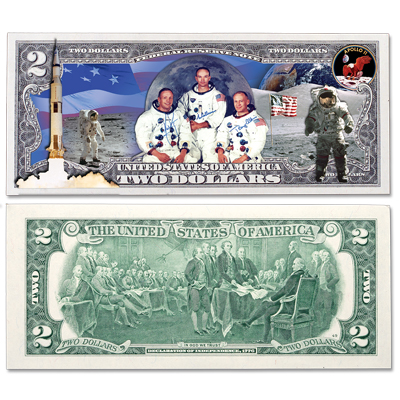 Colorized $2 Federal Reserve Note - Apollo 11 – Littleton Coin Company Blog